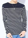 ネイビー×ホワイト M (ベストマート)BestMart 美シルエット ボーダー Tシャツ メンズ 長袖 プルオーバ 胸ポケット カットソー トップス 長そで ボーダーティーシャツ マリンボーダー パネルボーダー ロンT ロングTシャツ 7分袖 7分 七分袖 七分 Uネック Vネック クルーネック ボートネック コットン ストレッチ メンズTシャツ Tシャツメンズ メンズカットソー カットソーメンズ 七分 カジュアル インナー ブランド オシャレ 白 S M L XL LL 春 夏 秋 冬 620607-005-601