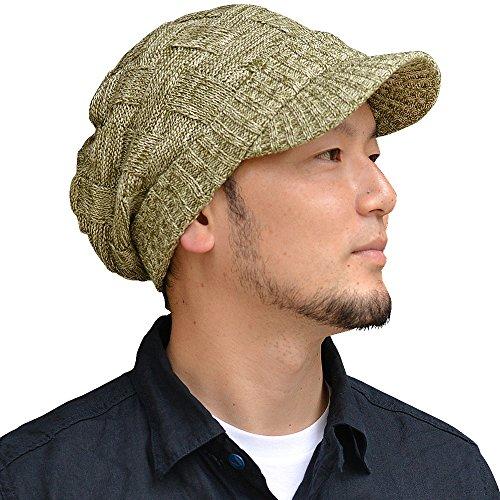 nakota(ナコタ) コットンクロス編みつば付きニット帽 ニットキャスケット ニットキャップ 長時間きれいシルエットが続く。被る人を選ばない万能ニットキャスケット。 帽子 つば付き ニット帽 メンズ レディース (オリーブ×ホワイト)