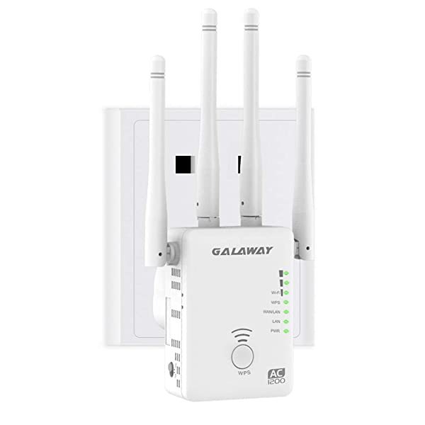 GALAWAY WiFi Range Extender, 1200Mbps WiFi Extender with 4 External Antennas Dual Band Mini Wireless Signal Booster with Ethernet Port WiFi Range Amplifier (Color: A0)