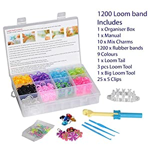 Best Online Loom Bands Kit box incl Glow/Glitter/Multi colour bands (1200 Loom bands)