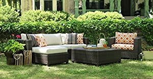 AE Outdoor All Weather Wicker Biscayne Deep Seating Sofa Set with Sunbrella Fabrics, Brown from AE Outdoor (Ace Evert International)
