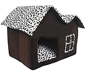 Shot--In Pet Supplies Dog Kennels Cute Puppy Room Pet Bed House Brown 62*52*52cm
