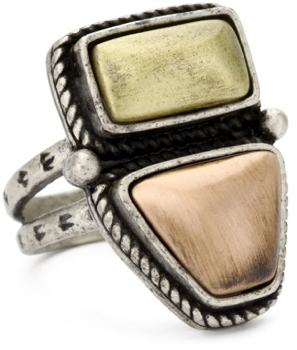Vanessa Mooney Mixed Metal Stone Ring Size 7