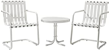 Crosley '3-Piece Gracie Metal Outdoor Conversation Seating Set with 2 Chairs and Side Table', White