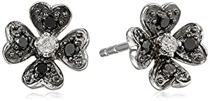 10k White Gold Flower Black and White Diamond Earrings (1/10 cttw, I-J Color, I2-I3 Clarity)