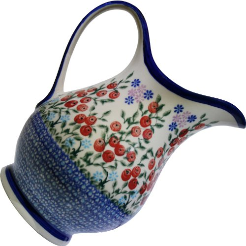 Polish Pottery Ceramika Boleslawiec 0204/282 Royal Blue Patterns 4-1/4-Cup Pitcher, Red Berries And Daisies