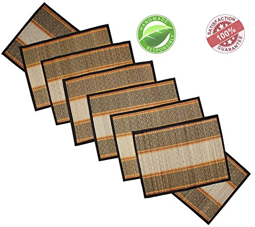 """Clearance Sale"" Souvnear Placemats + Table Runner Set Dinnerware Decor - Striped Table Mats Set Of 6 With Table Runner - Reversible Black And White - Natural Handmade Dining Table Accessories"
