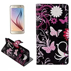 Plain Weave Horizontal Flip Butterfly Pattern Leather Case with Holder & Card Slots for Samsung Galaxy S6