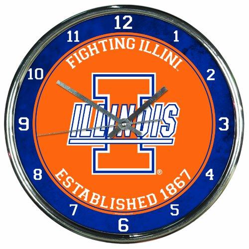 NCAA Illinois Fighting Illini Chrome Clock