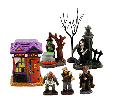 Tombstone Corners Witches Brew Set #1 Halloween Party Decoration, Cake Topper