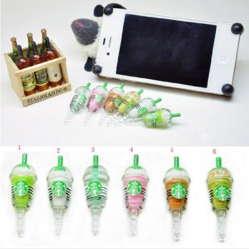 6 Pcs (Whole Set) Starbucks Frappuccino, Milk Cell Phone Charm 3.5Mm Anti Dust Earphone Jack Plug Iphone 4 4S