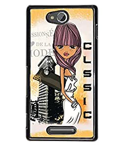 Fuson Classic Girl Back Case Cover for SONY XPERIA C - D4088