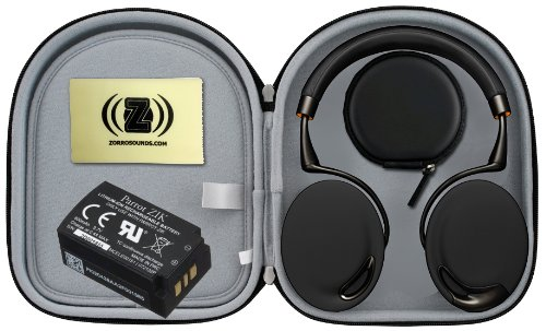 Parrot Zik Touch-Activated Bluetooth Headphones (Black/Gold) Bundle With Parrot Zik Black Case, Parrot Zik Battery (3.7V - 800Mah) And Custom Designed Zorro Sounds Cleaning Cloth