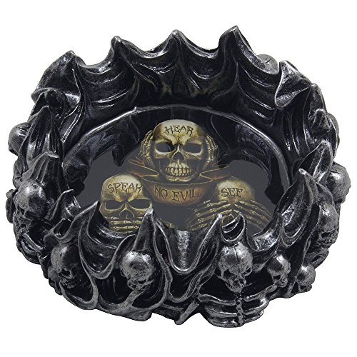 No Evil Skeleton Skulls Ashtray in Metallic Look for Scary Halloween Decorations and Spooky Gothic Smoking Room or Bar Decor As Gifts for Smokers