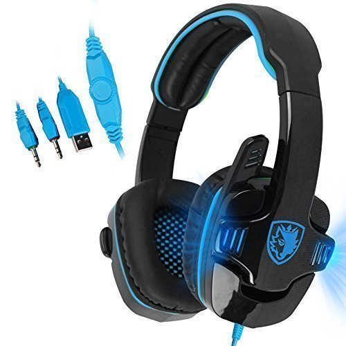 SADES SA708 3.5mm Wired PC Stereo Gaming Headset Headband Headphones with Microphone Control Remote LED Light for PC(Black Lighting Version)