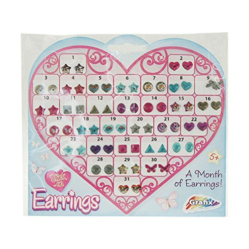 31-pk-of-girls-stick-on-earrings-sheet-party-bags-filler-adhesive-heart-star