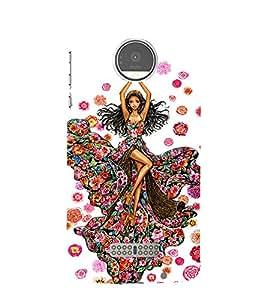 PrintVisa Fashion Flower Girl Dress Design 3D Hard Polycarbonate Designer Back Case Cover for Motorola Moto Z