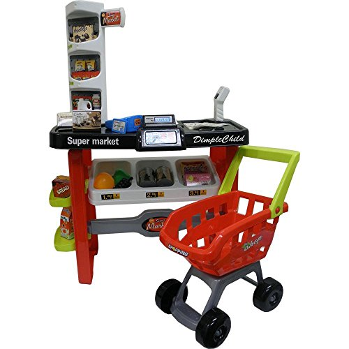 DimpleChild Battery Operated Deluxe Grocery/Supermarket Playset with Scanner/Credit Card Machine/Shopping Cart and More