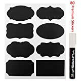Chalkboard Labels - Yukiss® 80 Premium Reusable Chalk Stickers for Jars + White Chalk Marker with 6mm Reversible Tip - (Mini Size for Tins, Bottles and any Storage, Best Even for Your Home and Office)