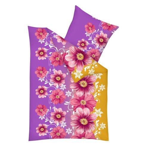 Mikolux MIC18 Bettwäsche allseasons 2-teilig, Blumen-Ornamentedesign, violett / gelb