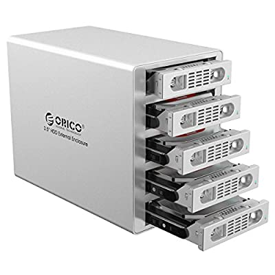 ORICO 5 Bay 3.5 inch Hard Disk Drive Case HDD RAID Enclosure, USB3.0 & eSATA with US Plug - Silver (3559RUS3-US)
