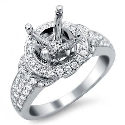 .90Ct Round Diamond Semi Mount Setting Ring 18K White Gold