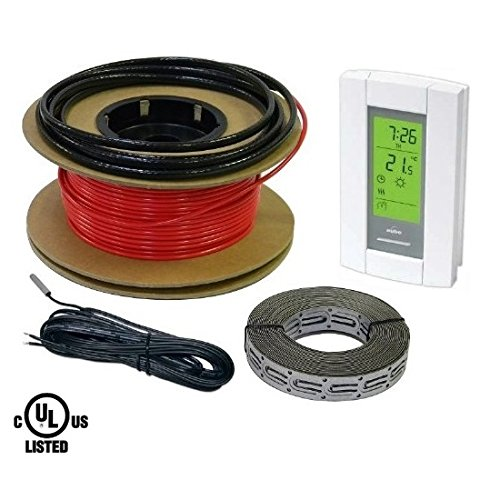 Heattech 40 Sqft Warming Cable Set, Electric Radiant In-Floor Heating Cable Warming System, 120V, 160Ft Long, With Digital 7-Day Programmable Floor Sensing Thermostat