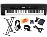 Korg Kross 88-Key Portable Synthesizer Workstation Bundle with Keyboard Stand, SD Card, Sustain Pedal, USB Cable, Instrument Cable, Headphones, and Polishing Cloth