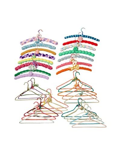 Uptown Down Set Of 34 Hand Crochet Covered Vintage Hangers, Multi