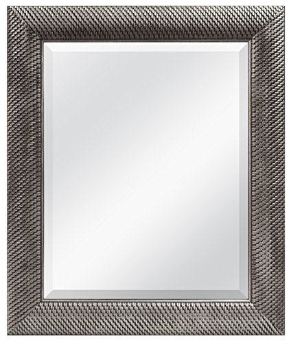 MCS 16 by 20 inch Beveled Mirror, Antique Silver Woven Finish. 22 by 28 inch Outside Dimension (47692)