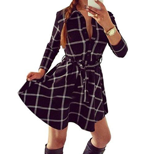 Moin Polo Neck Mid-Long Style Long Sleeve Plaid Flannel Shirt Black Plaid Dress
