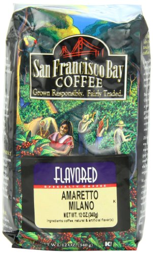San Francisco Bay Coffee Whole Bean Amaretto Milano Coffee, 12-Ounce Bag