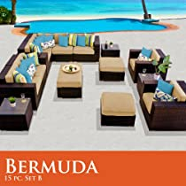 Hot Sale Bermuda 15 Piece Outdoor Wicker Patio Furniture Set 15B Sand