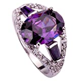 Amybria Jewelry Women's Oval Cut Amethyst & White Topaz Gemstones Silver Ring Size Q
