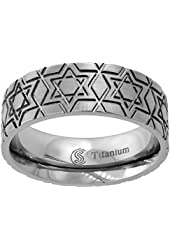 Titanium Wedding Ring 8 mm Star Of David Deep Carving Flat Comfort Fit, sizes 6 - 14