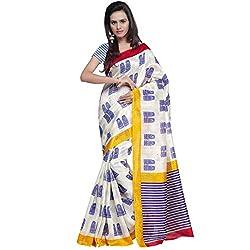 Prafful Blue Bhagalpuri Silk Saree