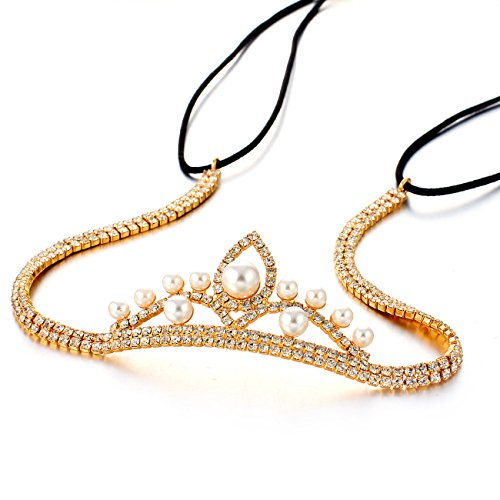 Janeo-Genuine-Swarovski-Crystal-Elements-Hair-Band-in-14k-Gold-Plating-A-Real-Stunning-Glamorous-Minimalistic-Style-on-a-Cup-Chain-Arrangement-with-a-Centre-Crown-with-Ivory-Pearls-A-Unique-Design-for