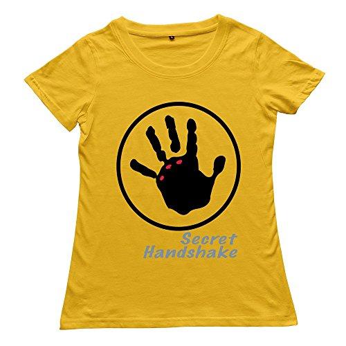 Hoxsin Yellow Women'S Secret Handshake Humor 100% Cotton T Shirts Us Size S