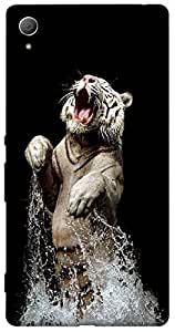Timpax Protective Hard Back Case Cover Printed Design : A Tiger in water.Specifically Design For : Sony Xperia Z-3