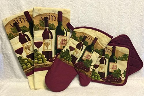 Wine Lovers Themed Kitchen Linen Bundle Burgandy - Five (5) Piece Set Includes Two (2) Kitchen Towels, Two (2) Pot Holders, One (1) Oven Mitt (Kitchen Grape Wine compare prices)