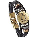 Hamoery Punk Alloy Leather Bracelet For Men Constellation Braided Rope Bracelet Bangle Wristband(Libra)