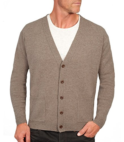 Wool Overs Men's Lambswool V Neck Cardigan