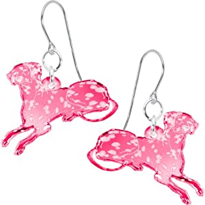 Pink Darling Dottie Dalmatian Dog Earrings