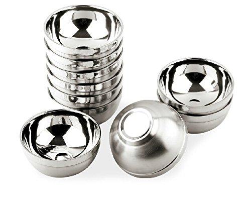 Bumud Unbreak Heat Insulation Stainless Steel Rice Bowl-- 10 Pieces (Stainless Steel Rice Bowl compare prices)