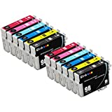 E-Z Ink (TM) Remanufactured Ink Cartridge Replacement For Epson 98 99 (2 Black, 2 Cyan, 2 Magenta, 2 Yellow, 2 Light Cyan, 2 Light Magenta) 12 Pack T098120 T099220 T099320 T099420 T099520 T099620