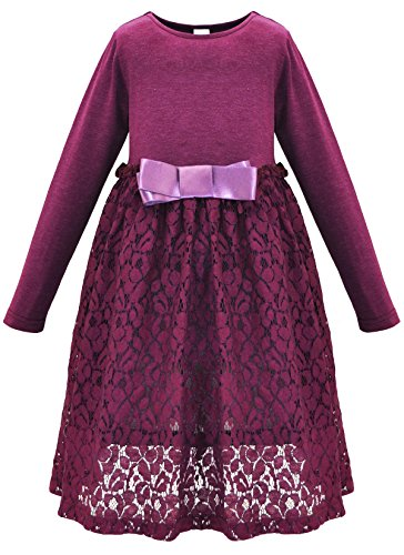 Bonny Billy Girl's Casual Satin Lace Dress with Bow 3-4 Years Purple