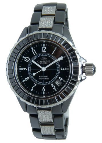 Oniss #ON8890-L Women's Stainless Steel Trim Baguette Crystal Black Ceramic Watch