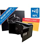 **BIGGER VERSION** EightOnes VR Kit XL - The Complete Google Cardboard Kit with 1-Year Guarantee, NFC, Exclusive Content and Head-strap - Inspired by Google Cardboard and Oculus Rift to Turn Smartphones into 3D Virtual Reality Headsets (XL, Jet Black)