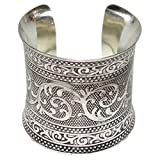 Sitara Collections SC5540 Anaya Brass Engraved Cuff Bracelet, Silver-Plated