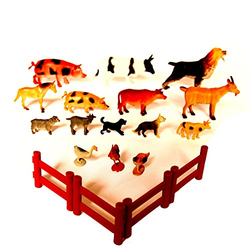 Dazzling Toys Farm Animals with Gate - Pack of 15 (D134) - 1
